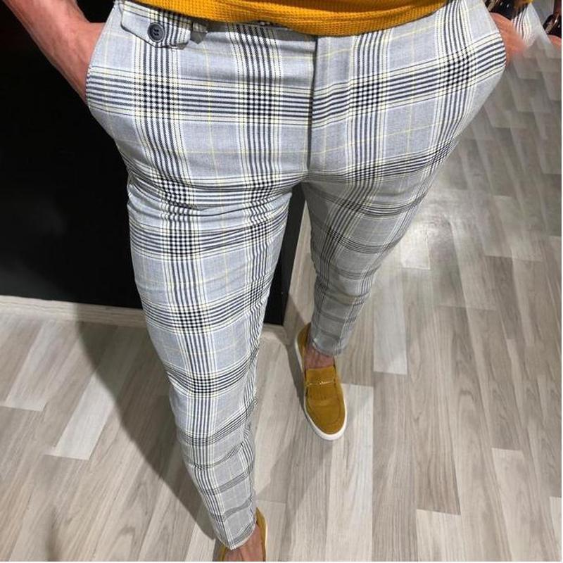 Meihuida Smart Casual estilo dos homens da manta Slim Fit Calças Calças Corredores Tartan Jogging Skinny Bottoms Fashion Business