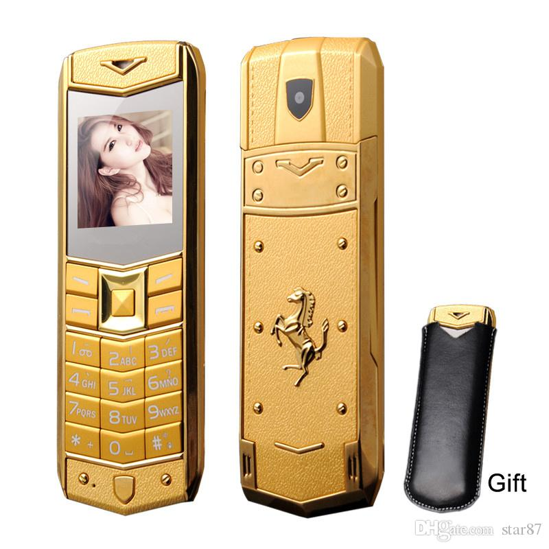 Hot Sale Unlocked super luxury mobile phone for man Women Dual sim card Mp3 Camera metal frame stainless steel cheap cell phone free case