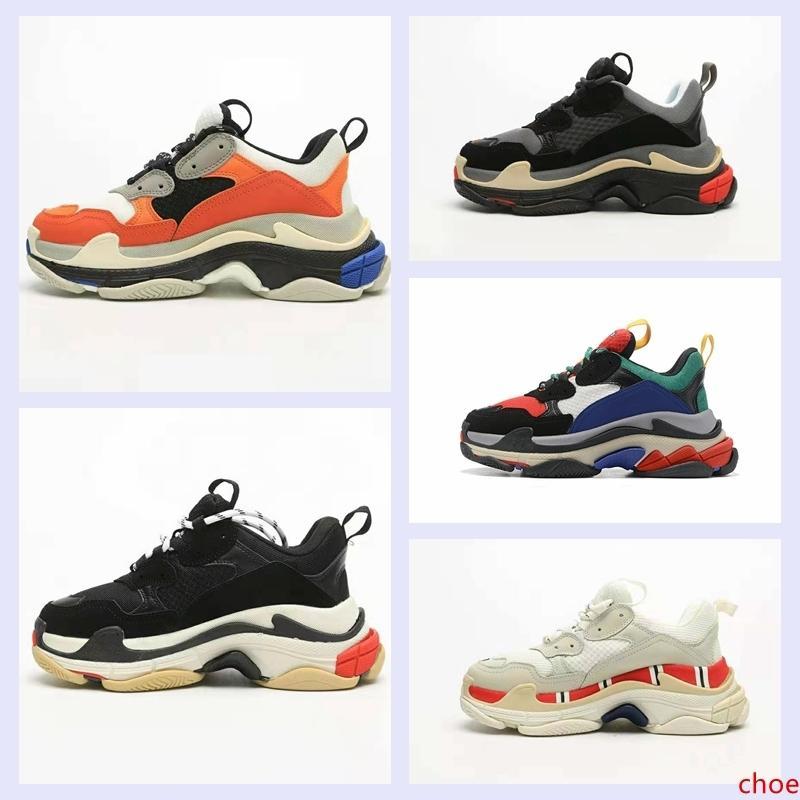 2020 Paris Fashion 17FW Triple S del diseñador del Mens zapatillas de deporte de la vendimia papá Plataforma de Mujeres Zapatos de lujo ocasionales del tamaño entrenadores deportivos Botas 36-45