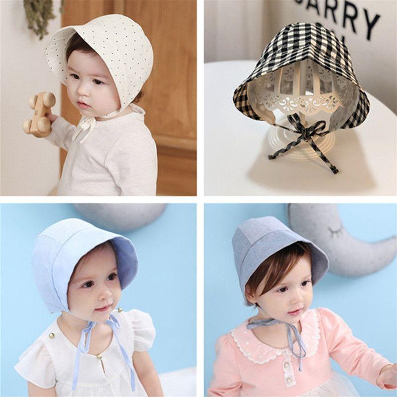 Cute Baby Bucket Hats Summer Infant Cotton Sunhat Boys Girls Visor Cap Outdoor Travel Sun Hat Toddler Kids Cotton Sunbonnet Topee 2020