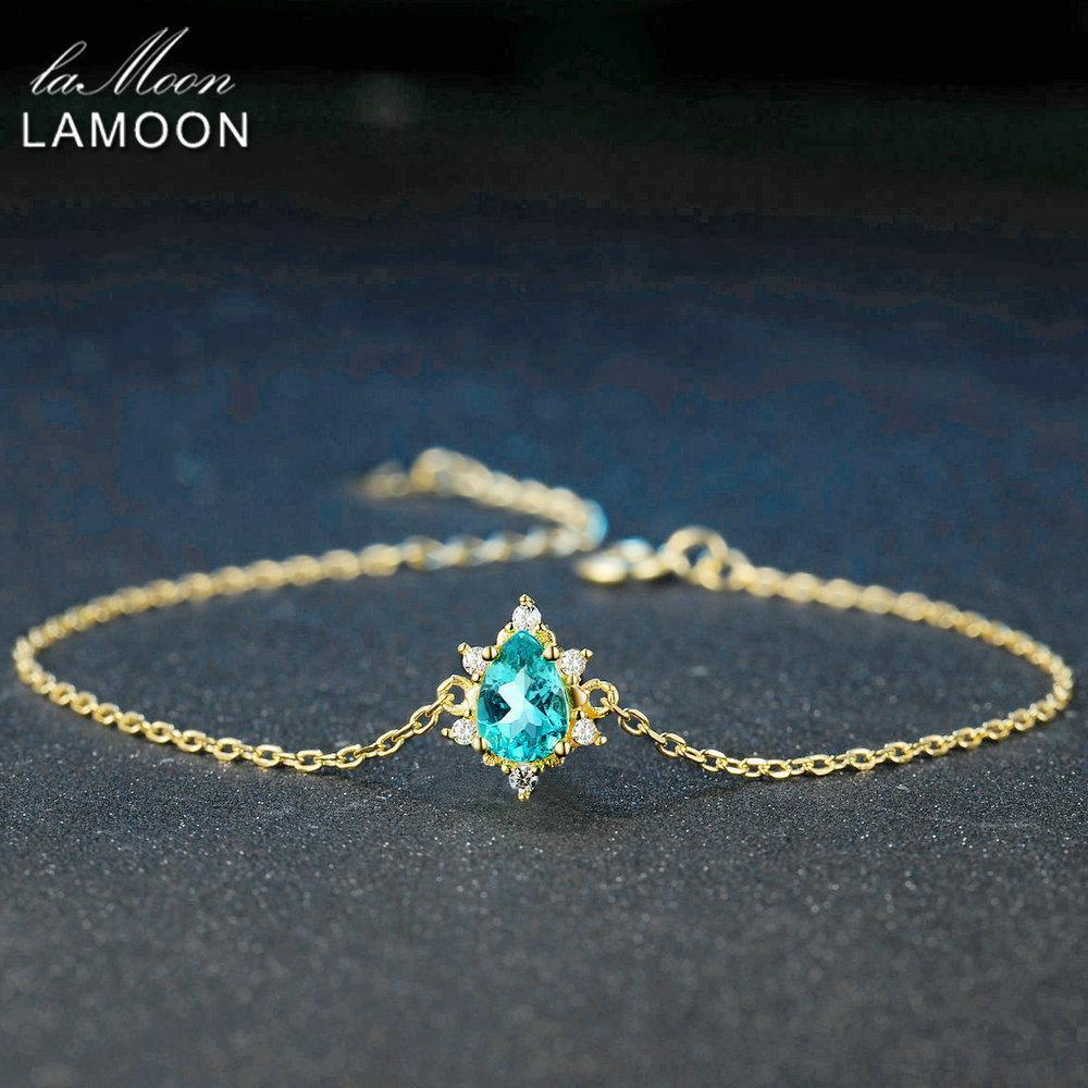 Lamoon 5x7mm 1.6ct 100% naturale taglio della pera Blu apatite 925 gioielli in argento del braccialetto Chain LMHI043