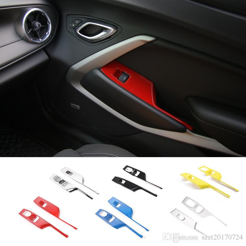 Ventana de la puerta del coche botón ascensor Apoyabrazos Interruptor Cubierta Panel de revestimiento de ABS tira de decoración para Chevrolet Camaro 2017+ Auto Accesorios Interior