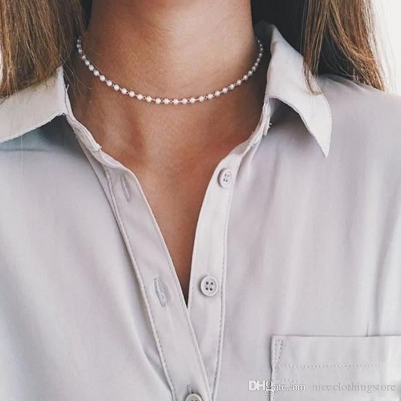 Kadınlar Partisi İnci Kolye 2020 Moda Düğün Takı için Vintage Altın Gümüş Renk Simüle-inci Zincir gerdanlık kolye