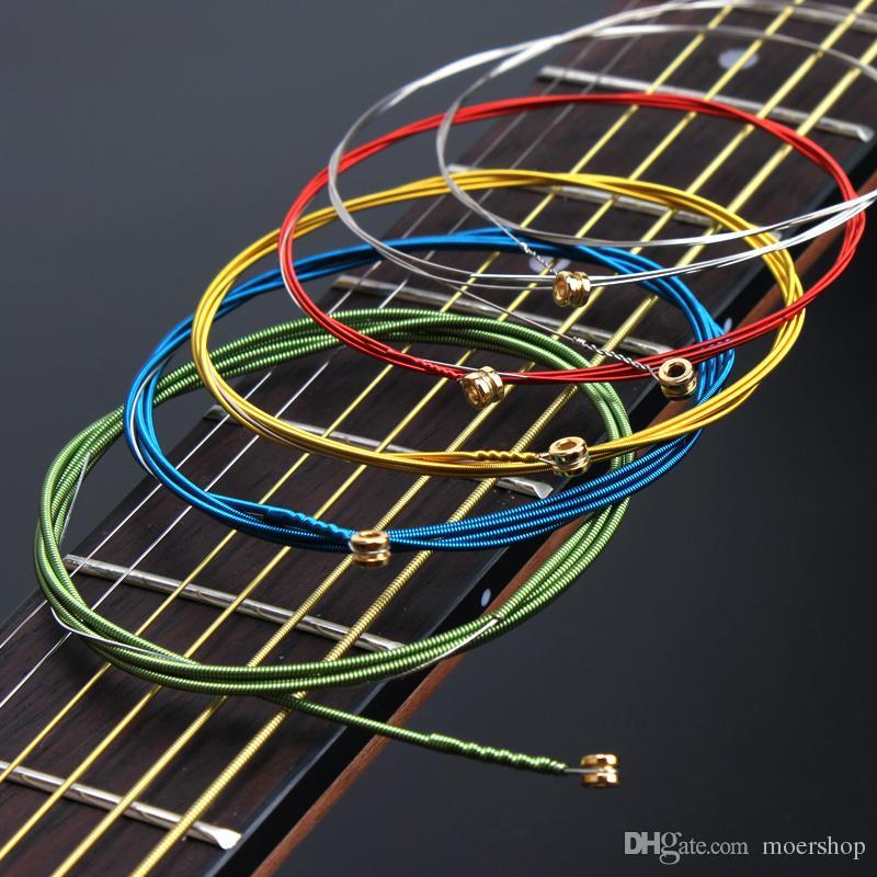 6pieces do arco-íris a guitarra acústica colorida Cordas definir 010 Para Guitarra Clássica Acústica Folk Guitar Multi Cor Cordas A407