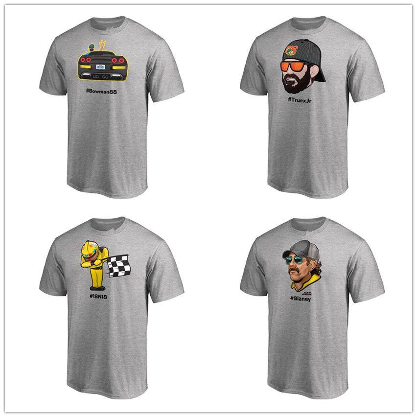 Alex Bowman Hamlin Daytonr Johnson Emoji 2018 T-shirt des séries de la série de la Coupe NASCAR gris chiné, chemises courtes, logos de marque 3D