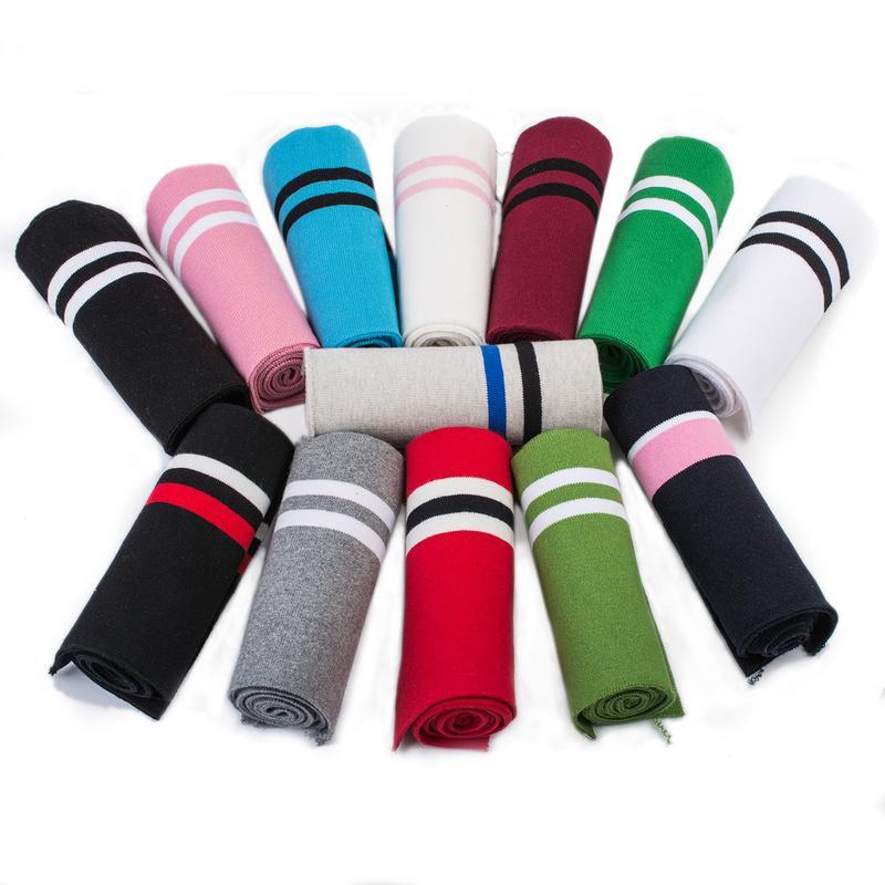 Alta calidad 1 * 1 raya de algodón elástico de punto escote puño de la cintura Rib Ribet de suéter de tela para suéter Mib capa