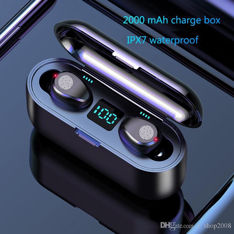 Fone de ouvido sem fio Bluetooth V5.0 F9 TWS Fone de ouvido sem fio Bluetooth Display LED com 2000mAh Banco de potência Fone de ouvido com microfone grátis DHL
