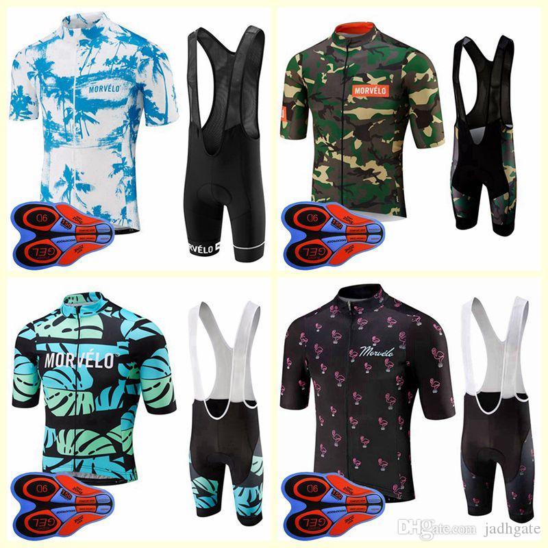 Morvelo equipo ciclismo manga corta jersey babero conjuntos nuevos llegada hombres ropa transpirable verano mtb ropa de bicicleta U82406