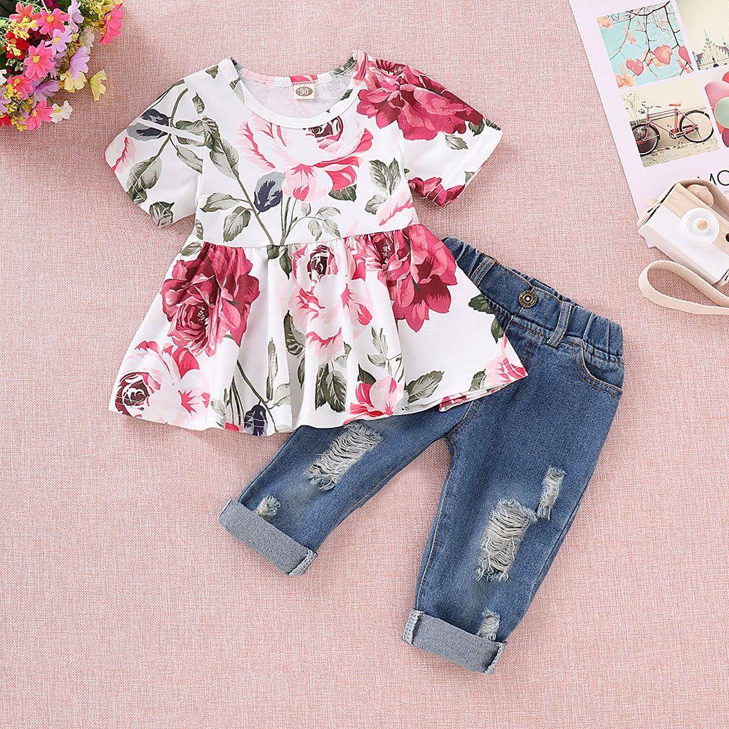 Детские девушки цветочные растениеводство топы+отверстие джинсовые брюки Жан малыш Детская одежда наборы новогодний костюм для девочек