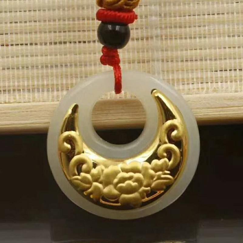 Pulsante Drop Shipping Hetian del Safety giada ciondolo Ping An Kou collana amanti fortunato Amuleto 24K Fine Jewelry