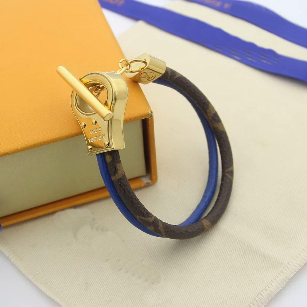 Europa América Moda señora de los hombres V Iniciales Diseño de doble color doble cordón de la cubierta de cuero pulsera brazalete de metal con el oro 18K OT hebilla