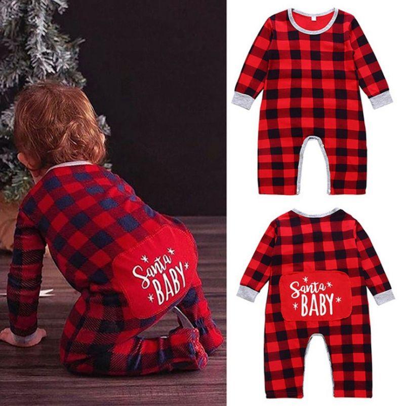 Natal roupa do bebê da manta do vermelho do menino da criança macacãozinho letra impressa infantil Meninas Macacões manga comprida Recém-nascido roupa de escalada Xmas DW4606