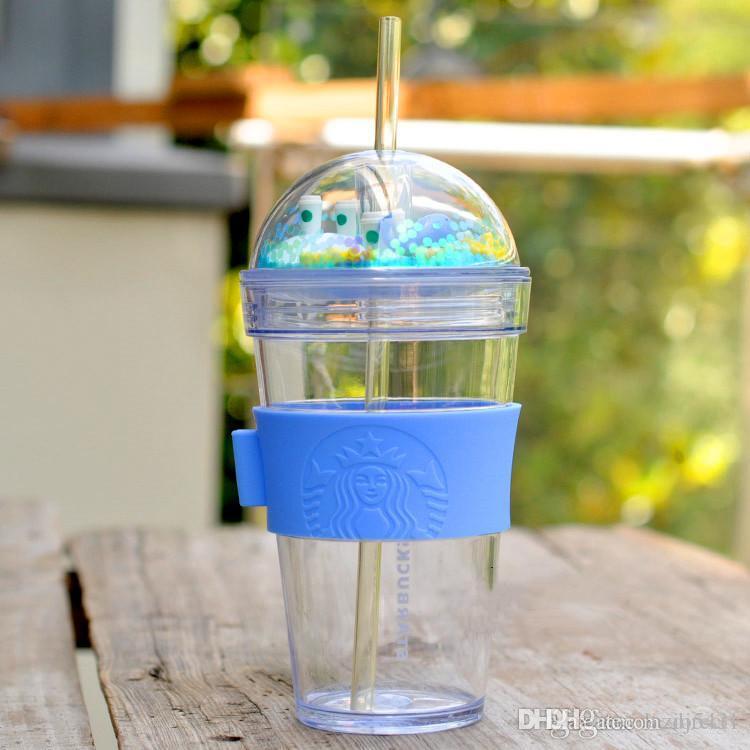 여름 스타벅스의 수중 세계 고래 블루 짚 커피 컵 473ml 플라스틱 아치 커버는 차가운 물 찻잔 휴대용 동반 컵