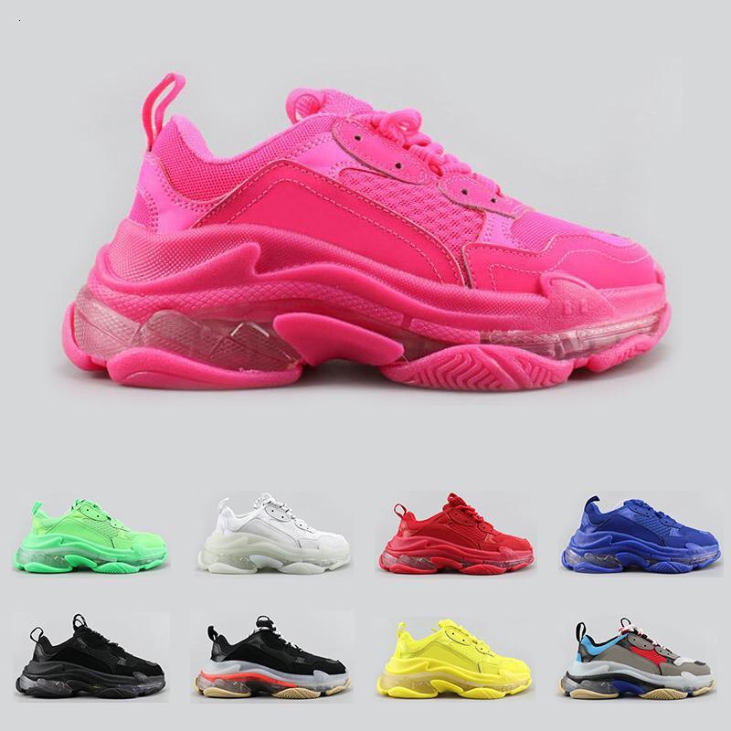 Новый тройной s мода роскошные дизайнерские туфли для мужчин женщин ясно подошва неоновый зеленый черный белый красный мужской тренер платформа спортивные кроссовки