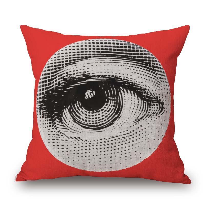 Soft Eye Lips Cotton Linen Pillow Case Sofa Throw Cushion Cover Home Decor
