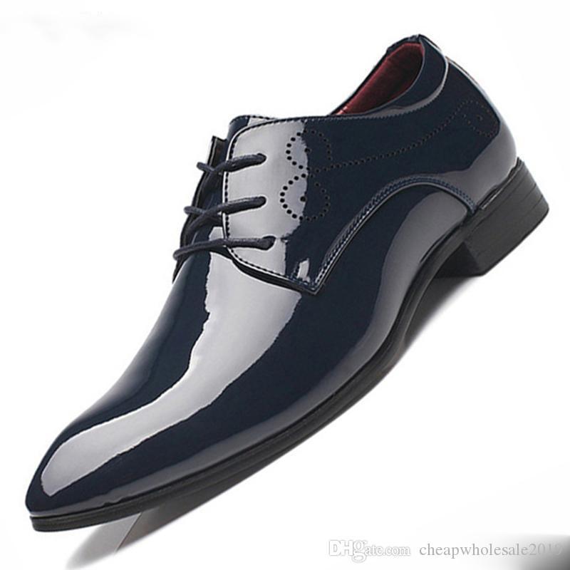Мужчины обуви Оксфорда Toe Мужчина Остроконечного платье Бизнес Свадебная обувь Кожа PU Oxfords Формальная обувь для мужского
