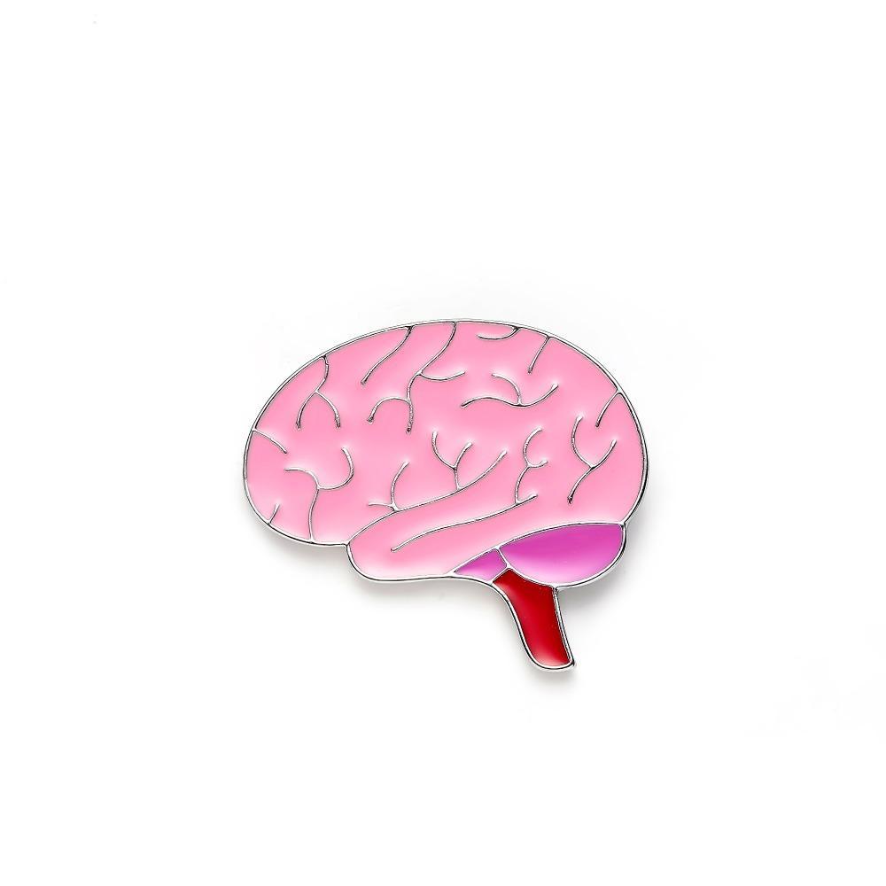 Cervello Pins smalto di colore rosa risvolto Badge mediche per giacche Men Jewelry dell'infermiera spilla fai da te donne all'ingrosso regalo Anatomia del fumetto Pin