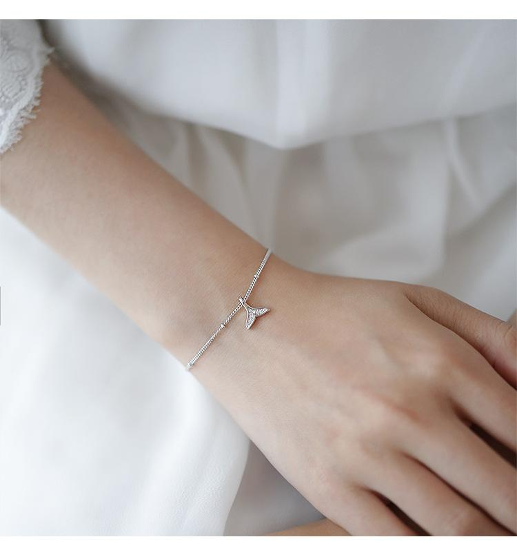 In argento sterling 925 braccialetto della coda della sirena semplice braccialetto gioielli creativi studentessa di moda fresca di vendita all'ingrosso