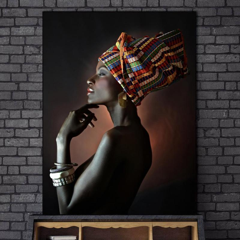 Splendidi dipinti a olio delle donne di colore stampa su tela Ritratto Di Muro Arte Africana Prints Poster e Stampe parete Immagini Cuadros