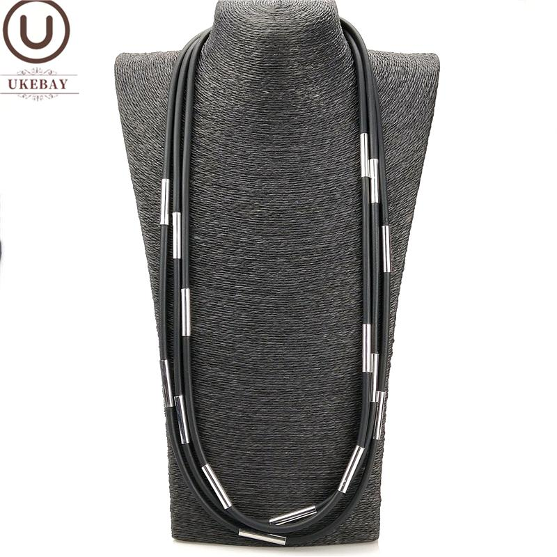 UKEBAY New Rubber Choker Necklace Women Handmade Jewelry Metal Accessories Bohemia Pendant Necklaces Sweater Chains Silver Tube Can Custom