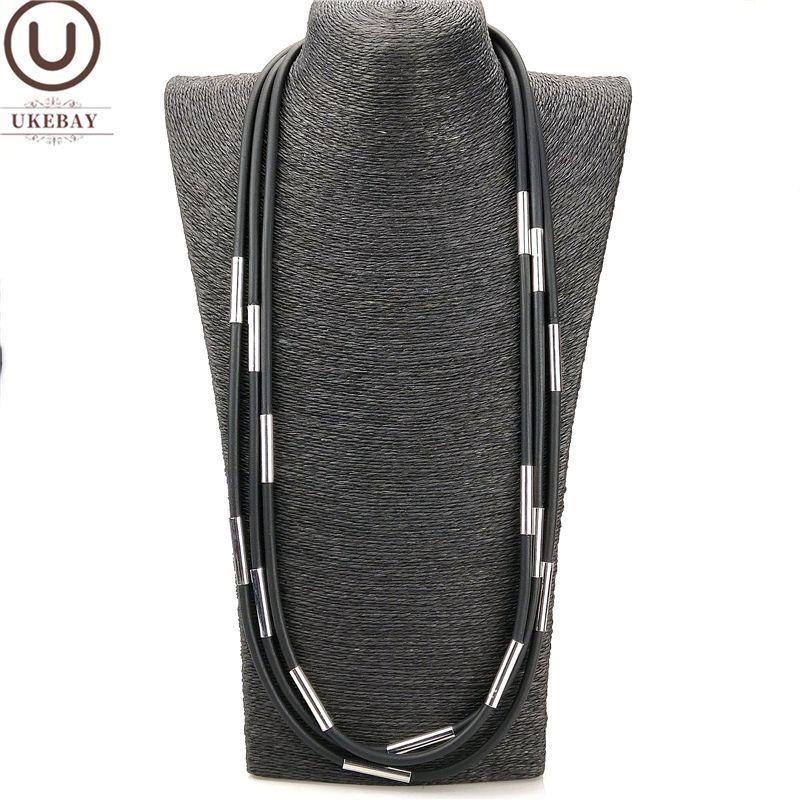 UKEBAY Nouveau caoutchouc Collier ras du cou à la main Bijoux Femmes Métal Accessoires Bohème Pendentif Colliers Sweater Chaînes d'argent Tube Can sur mesure