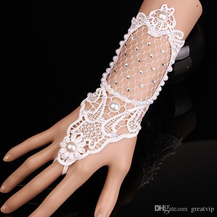 Brides Bracelet Brace Lace Fingerless Bridal Gloves Lacing Crystals Pearls Ring Bracelet Wristband Wedding Accessories Glove Mittens