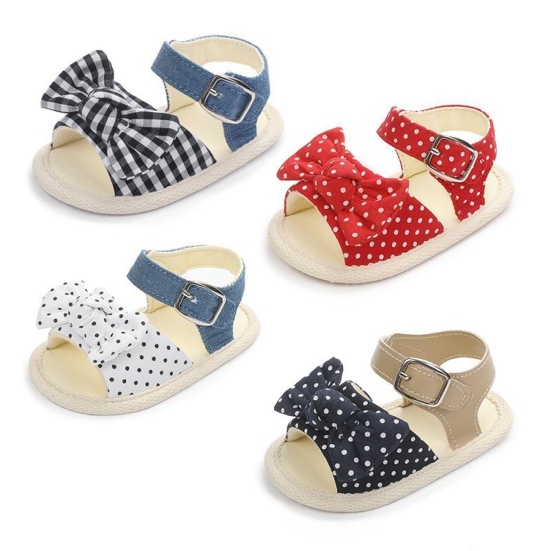 Verão Bebés Meninas Sandals Bebés Meninas Bow Polka Dot respirável Anti-Slip Criança suave Soled Para 0-18M Shoes1