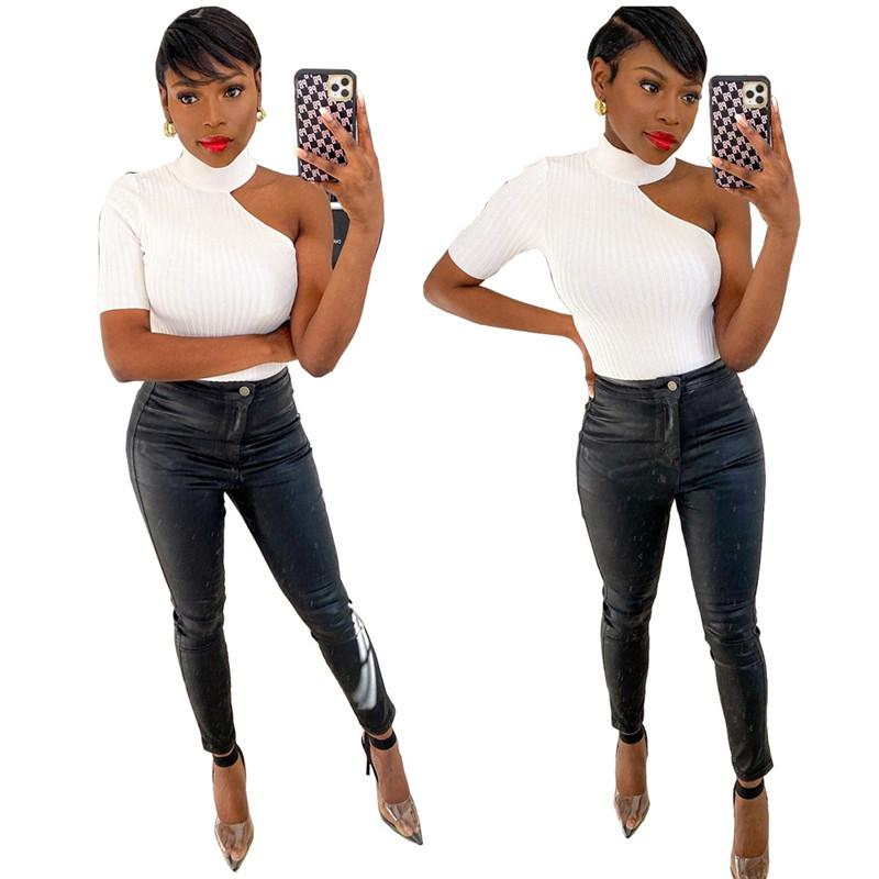 Casual Off Shoulder Women Tops White Stand Collar Slim One Shoulder Tess 20ss New Women Clothing