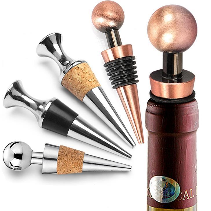 Wine Cork Wine Bottle Stoppers Zinc Alloy Glyptostrobus Wine Stopper Bar Tools Kitchen Accessories Free DHL