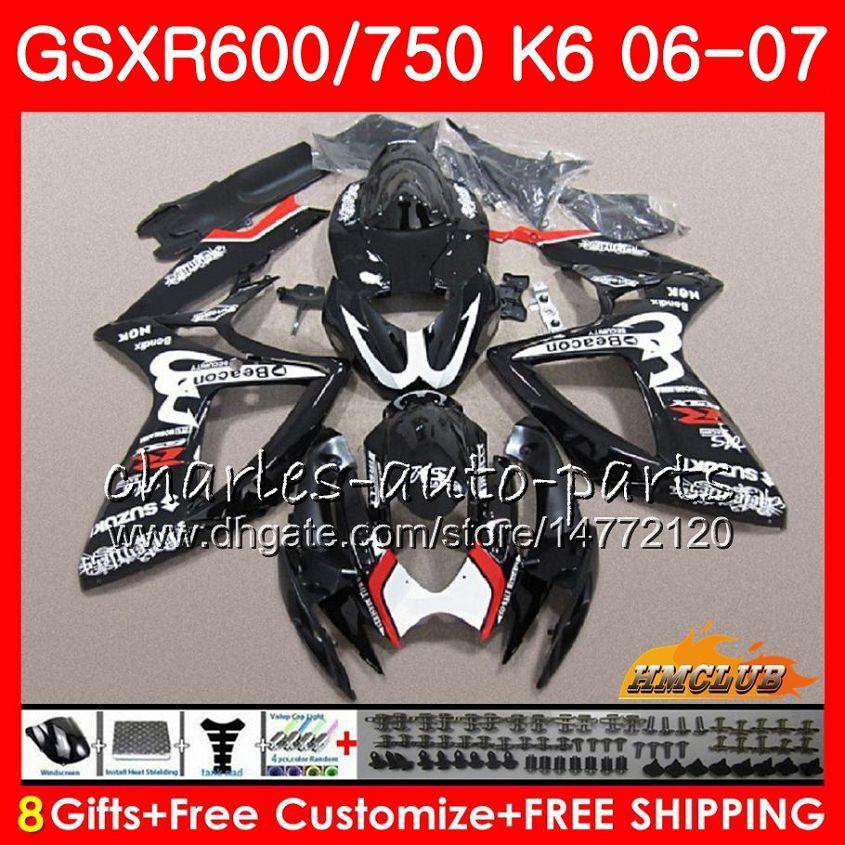 Kropp för SUZUKI GSX R600 GSX-R750 GSXR-600 GSXR600 06-07 8HC.30 GSX R750 GSXR 600 750 06 07 K6 GSXR750 2006 2007 Fairing Kit Stock Svart Hot
