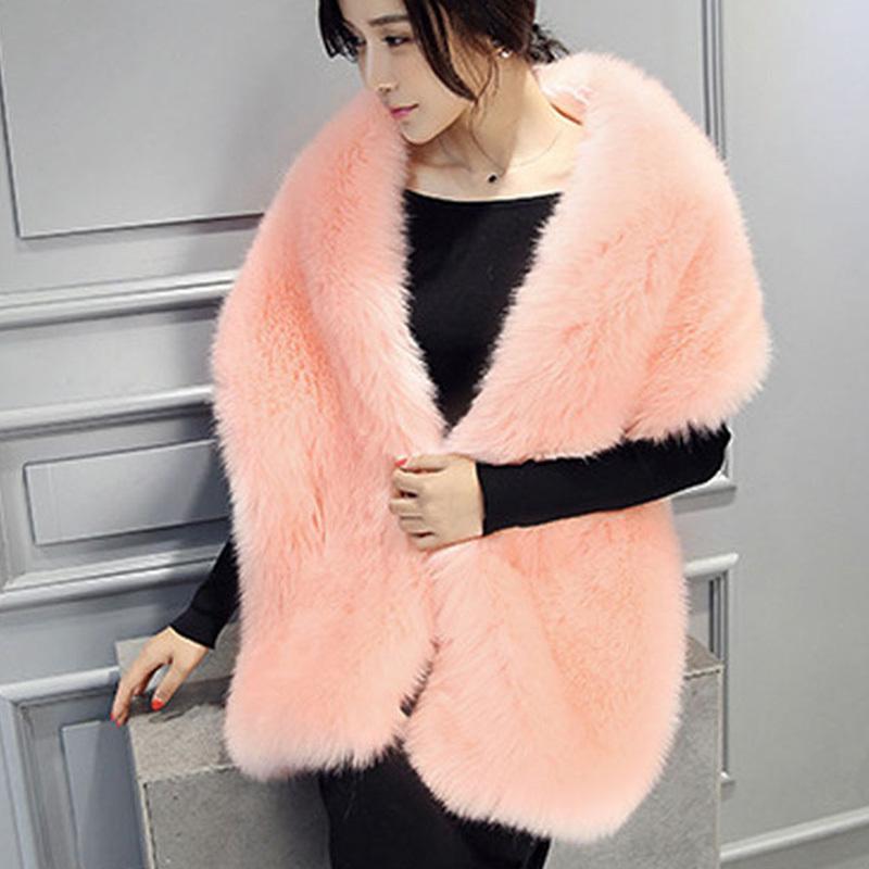 Cuello de piel sintética del cabo del mantón de las mujeres del invierno de pelo largo sólido imitado Bufandas de piel Moda Otoño Smooth grande Mantón Señora Accesorios Y200103