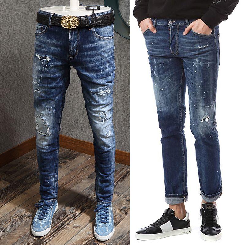 Men's Distressed 5-Pocket Jeans Whiskering Black Applique Fading Wash Cowboy Pants Man