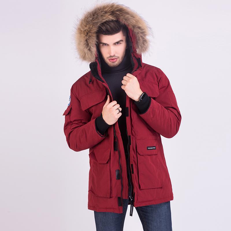 모피 후드와 함께 겨울 남성 코트 다운 재킷