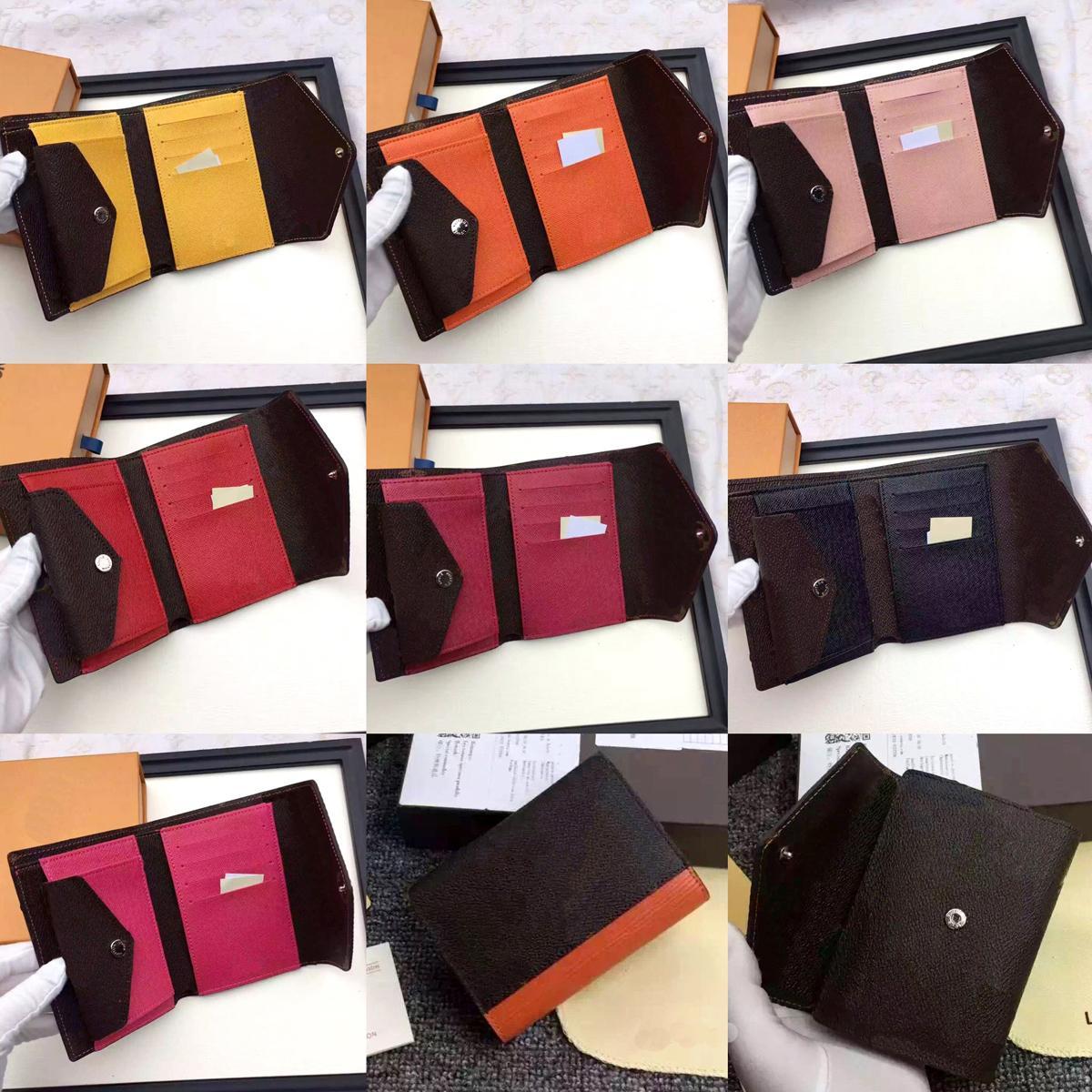 Großhandel Designer-Mappen-Leder-Mehrfarbengeldbörse kurze Brieftasche Polychromatic Geldbeutel Dame Kartenhalter classic Mini Reißverschlusstasche Marke