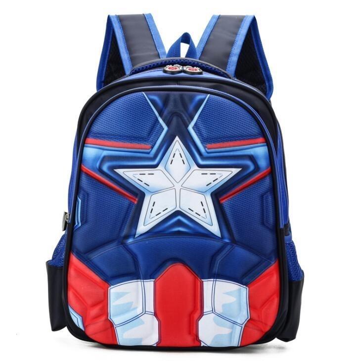 3D Spiderman superhombre del capitán América escuela infantil Bolsas de escolar del Kinder Primaria mochilas escolares para los niños de 4 diseños Y18100805