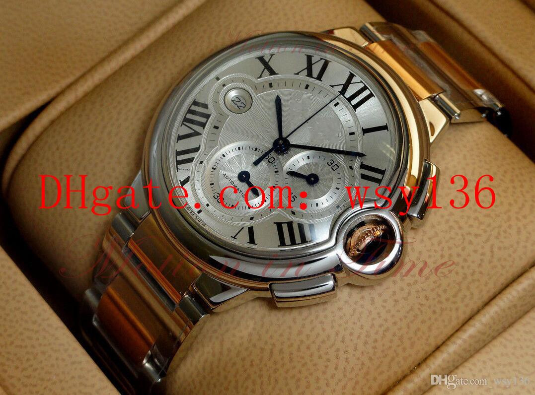 Высокое качество роскошные мужские часы W6920063 TwoTone 18 карат розового золота и стали кварцевые мужские наручные часы