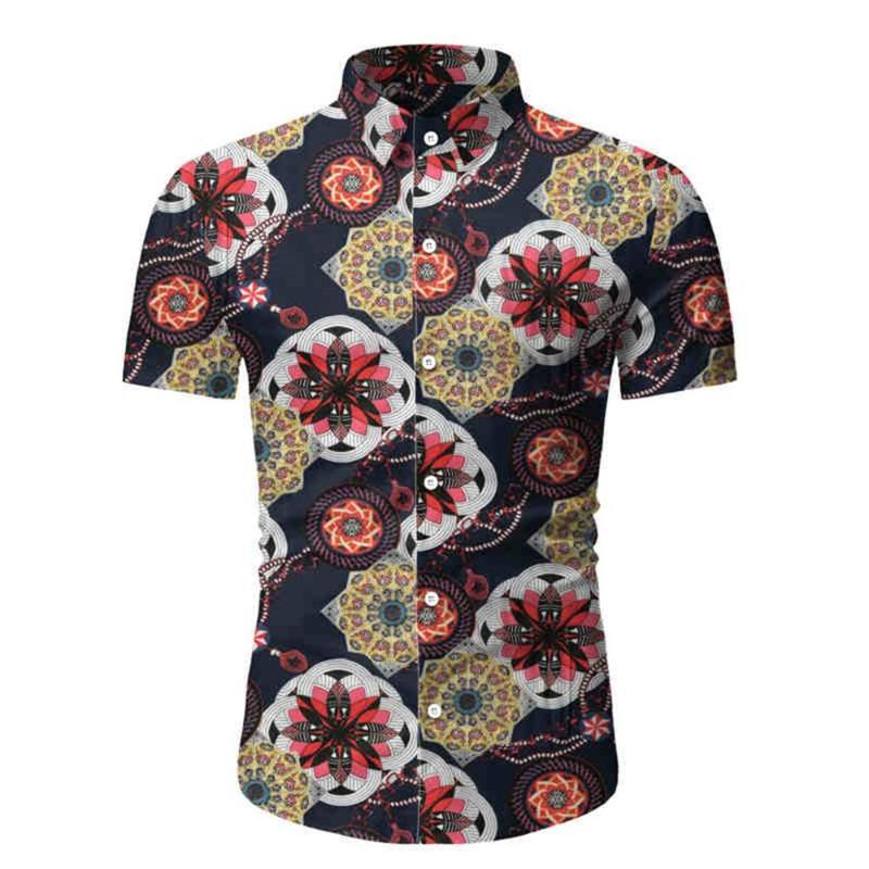 Allthemen Men'S Short Sleeve Shirt Laple Collar Floral Print Summer Shirt Men Casaul Slim Masculine Men Short