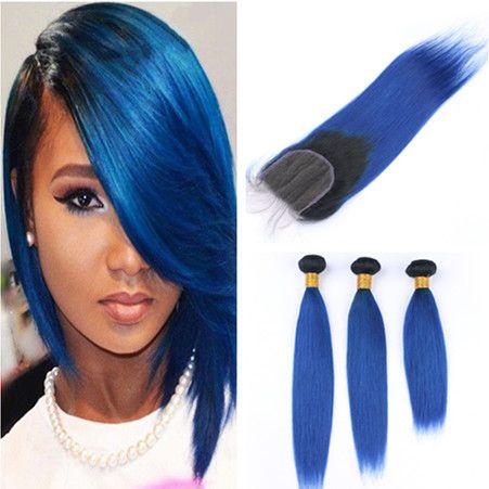 عروض الشعر 3 حزمة البرازيلي أومبير أزرق داكن الإنسان مع اختتام مستقيم # 1B / الأزرق أومبير 4X4 الرباط اختتام مع العذراء الشعر اللحمة الحياكة