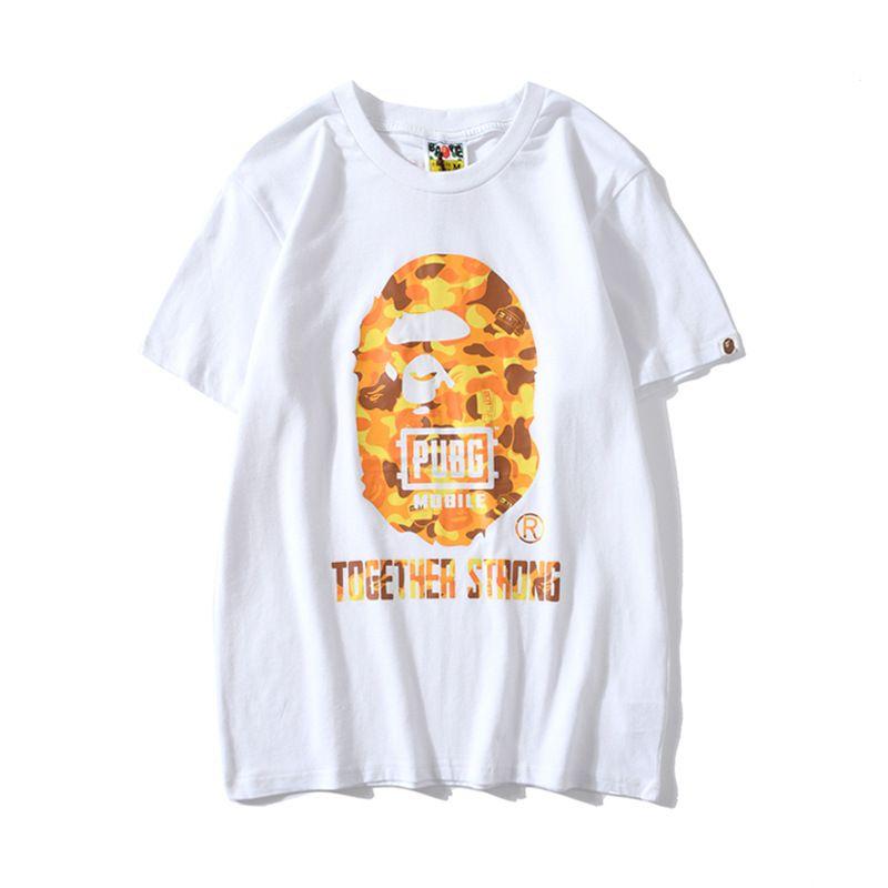 das mulheres dos homens de laranja dos desenhos animados da cópia de Camo Hip Hop amante do t-shirt impressão preto solto manga curta T-shirt