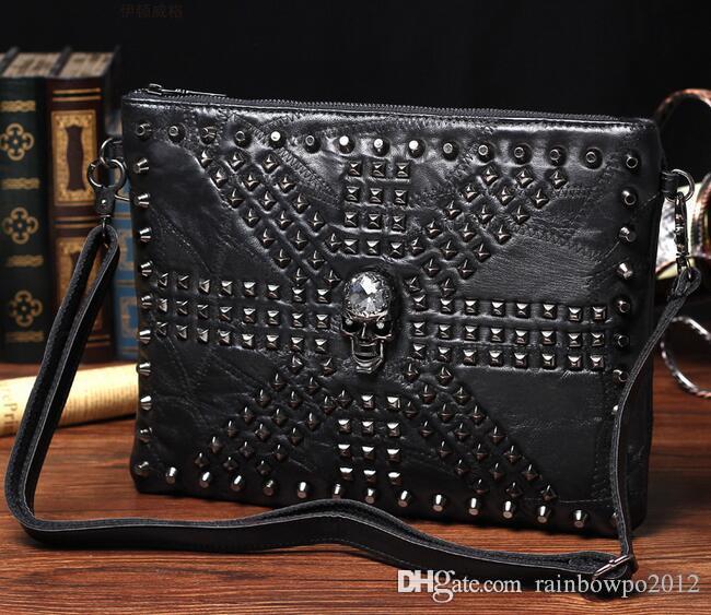 Factory sales men brand new men single shoulder bag package tide rivet rivet leather men hand bag fashion splicing sheepskin shoulder bag