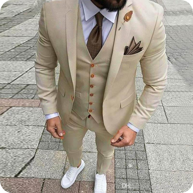 Custom Made Beige Men Suits Slim Fit Formal Costume Marriage Homme Groom Wear Prom Dress Tuxedos 3Pieces Blazer Jacket Men Terno Masculino