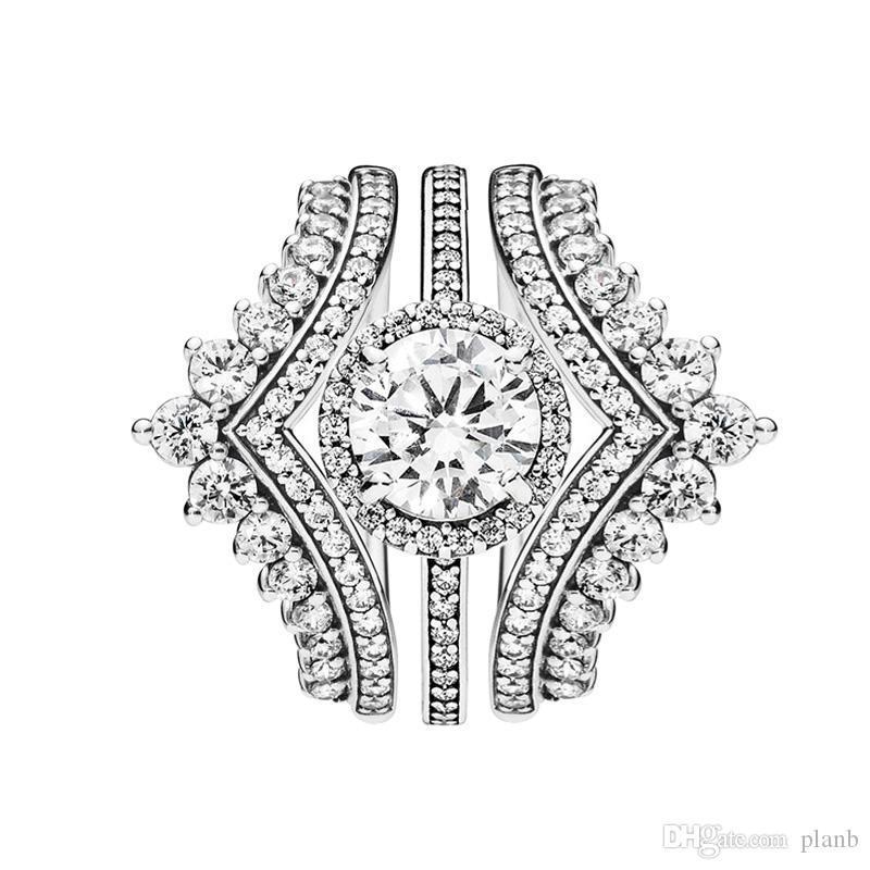 3 in 1 di lusso anello di regolazione principessa Desideri anelli tondi Sparkle Halo Ring per Pandora Argento 925 Anello con la scatola originale