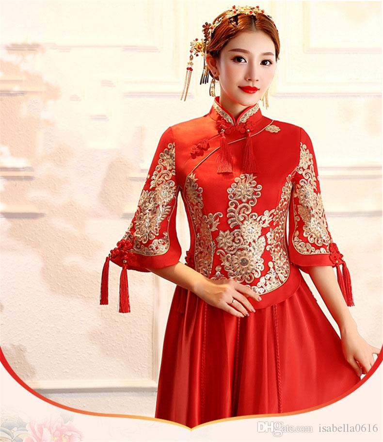 2019 New Women Traditional Chinese Wedding Gown Red Cheongsam Dress Vintage  Qipao China Dresses Robes Oriental Dresses Wedding Cosplay Dress Plus Size  ...