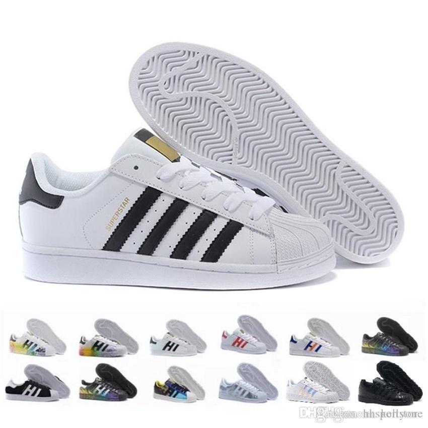 Sıcak Mens Womens Süperstar Ayakkabı Rahat Yürüyüş Ayakkabıları Kadın Flats 15 Renkler Boyutu 36--44 Yeni Renkler