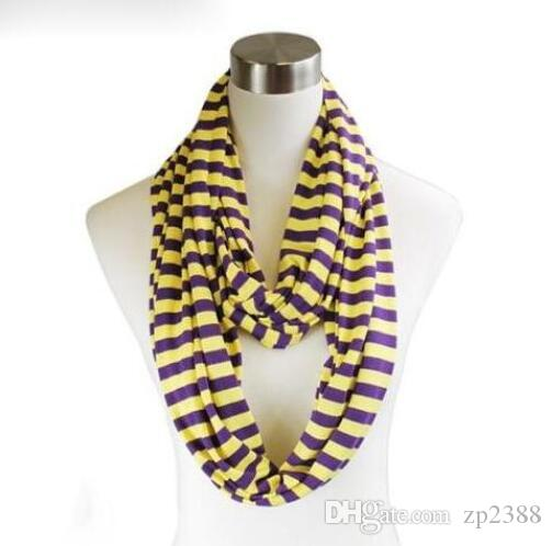 Fashion Balinese Yarn Fluorescent Infinity Stripes Print Scarf Circle Ring Loop Cowl Scarves Ladies Scarves Voile Designer woven scarf