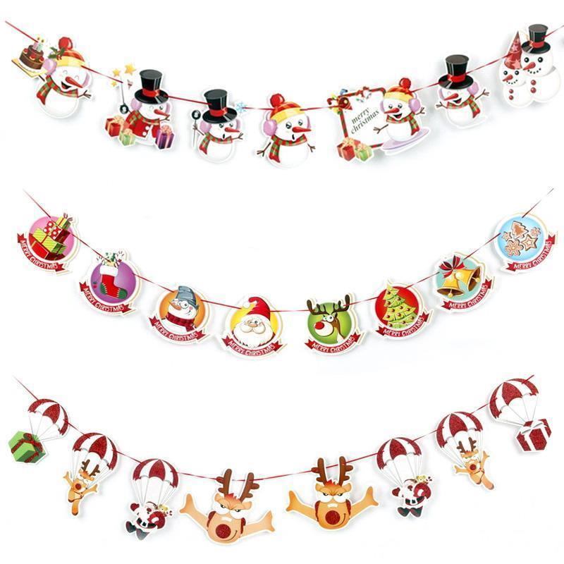 Parete appeso caldo del pupazzo di neve Calzini Casa di Babbo Natale Bandiera Banner Flag Ciondolo Christmas Party Decor LFD