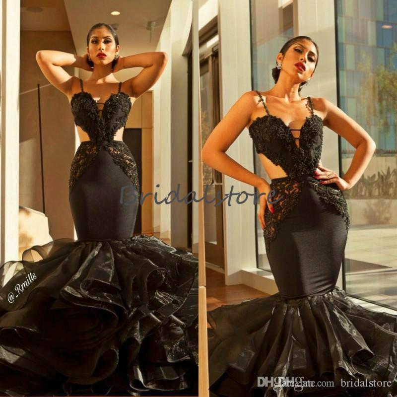 Gorgeous Black Mermaid Prom Dresses Spaghetti Straps Appliques Tight Bottom Organza Ruffles Formal Evening Gowns 2019 Black Girl Prom Dress