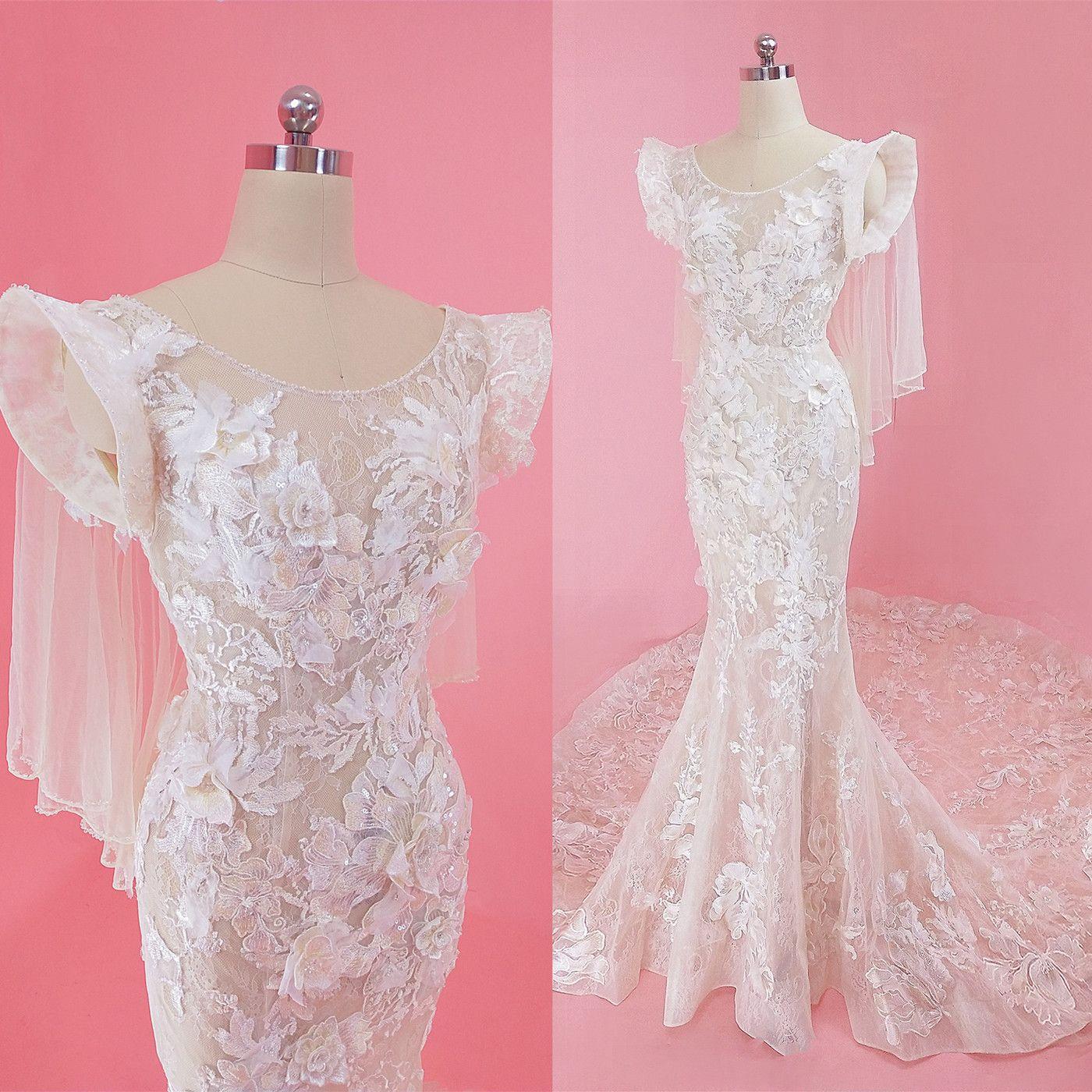 인어 높은 어깨 Tulle 레이스 beadings 채플 기차 캡 슬리브 트럼펫 Illusion Backless 웨딩 드레스