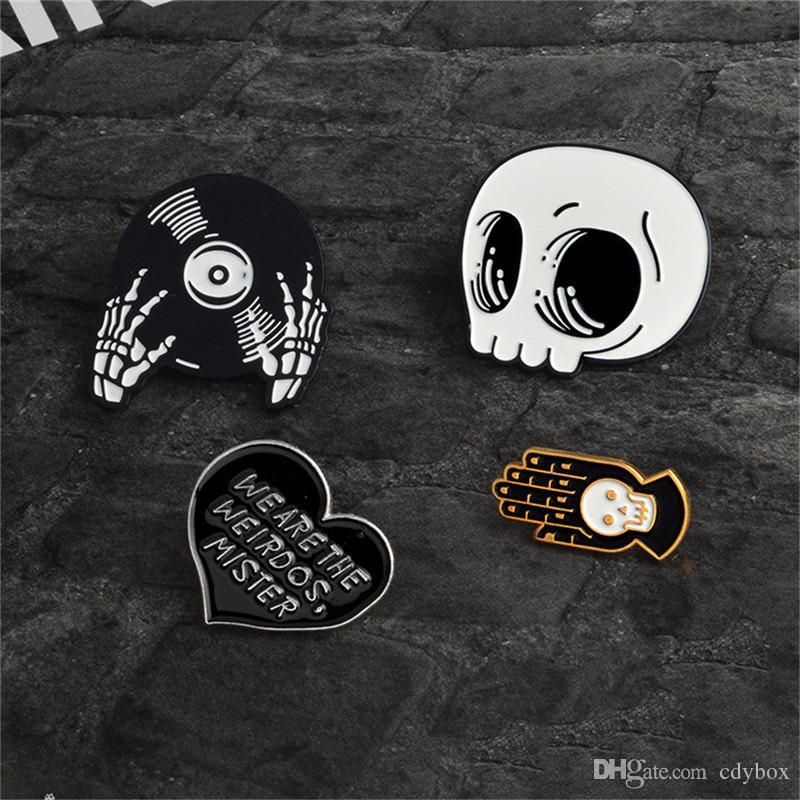 ГОРЯЧИХ Скелеты CD брошь Halloween сплава падение нефть Воротник Pin Set Button знак Брошь Черный Totem для женщин мужчин костюма аксессуаров