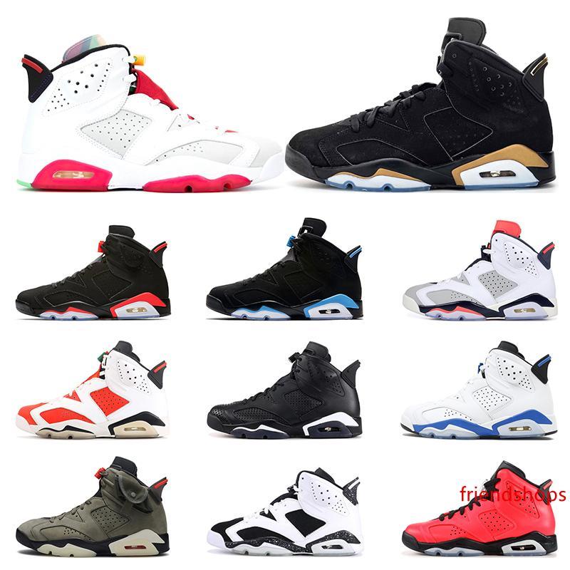 2020 de basket-ball chaussures 6 s hommes formateurs lièvre DMP UNC infrarouge bricoler noir chat sport bule blé Sport sneakers de sport taille 7-13